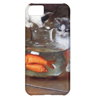 Cats Kittens Fishing in a Fish Bowl painting iPhone 5C Covers