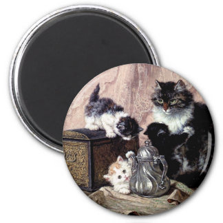 cats kittens playing tea party antique painting 2 inch round magnet