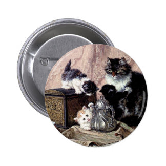 cats kittens playing tea party antique painting button