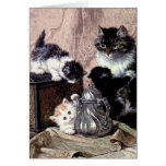 cats kittens playing tea party antique painting card
