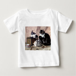 cats kittens playing tea party antique painting shirt