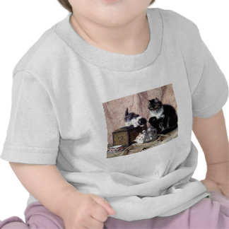 cats kittens playing tea party antique painting t-shirts