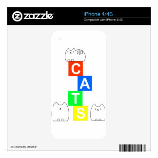 Cats, kittys and blocks decal for iPhone 4S