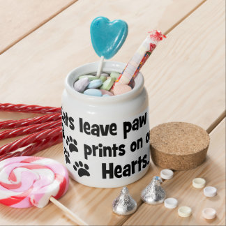 cats leave footprints on our hearts candy dish