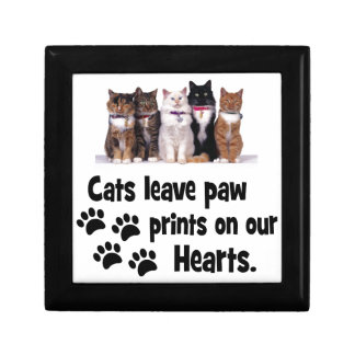 cats leave footprints on our hearts keepsake box