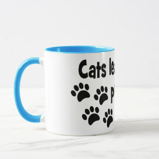 cats leave footprints on our hearts mug