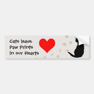Cats leave paw-prints in our hearts car bumper sticker
