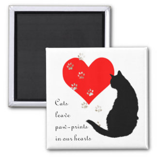 Cats leave Paw-Prints in our Hearts 2 Inch Square Magnet