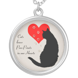 Cats leave paw-prints in our hearts silver plated necklace