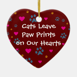 Cats Leave Paw Prints on Our Hearts Double-Sided Heart Ceramic Christmas Ornament