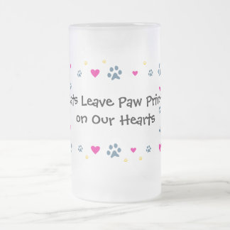 Cats Leave Paw Prints on Our Hearts Frosted Glass Beer Mug