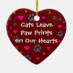 Cats Leave Paw Prints on Our Hearts Christmas Ornaments
