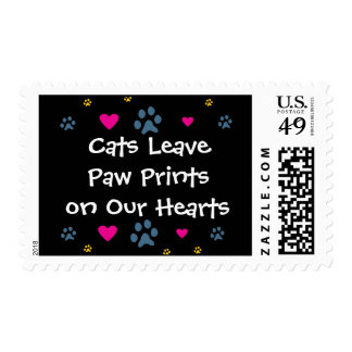 Cats Leave Paw Prints on Our Hearts Postage Stamps