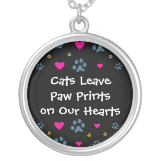 Cats Leave Paw Prints on Our Hearts Silver Plated Necklace