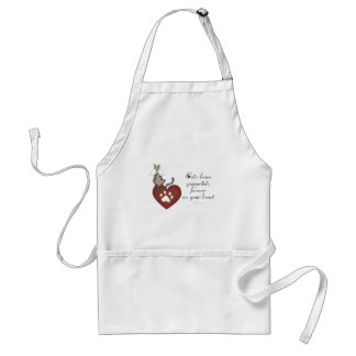 Cats Leave Pawprints On Your Heart Adult Apron