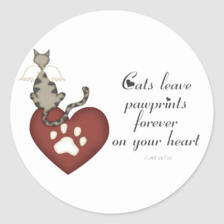 Cats Leave Pawprints On Your Heart Classic Round Sticker