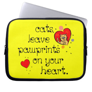 Cats leave pawprints on your heart. computer sleeve
