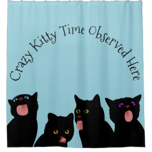 Cats Licking Windows Bath Time Fun Shower Curtain