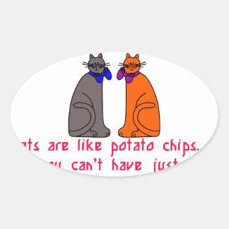 Cats Like Chips Oval Sticker