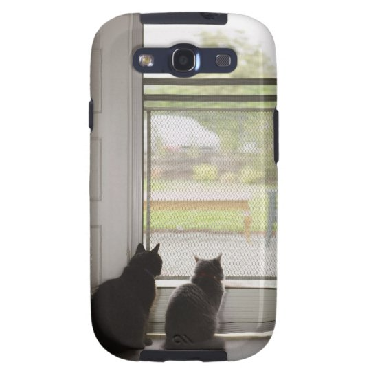 Cats looking out screen door galaxy SIII case