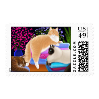 Cats Love Clean Laundry Postage