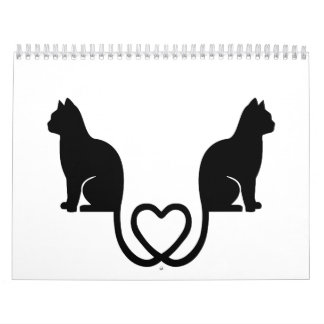 Cats love heart calendar