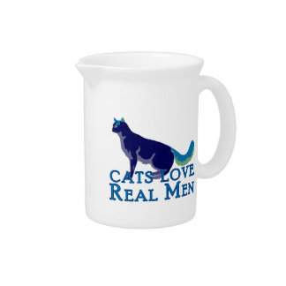 Cats Love Real Men Beverage Pitchers