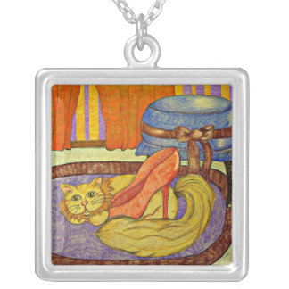 Cats Love Shoes Too!- artwork by Carol Zeock Square Pendant Necklace
