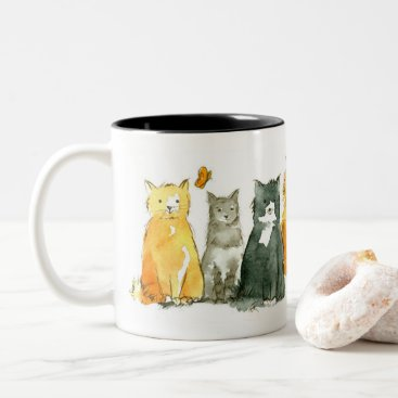 Cats Lover Kitten Watercolor Animals Two-Tone Coffee Mug