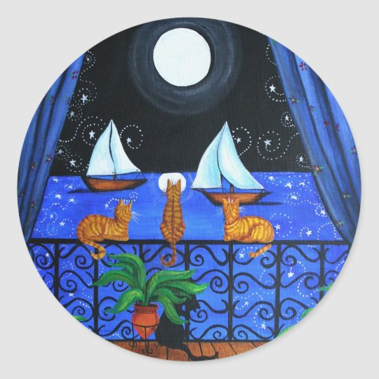 Cats Magical Night Nite Magic Classic Round Sticker