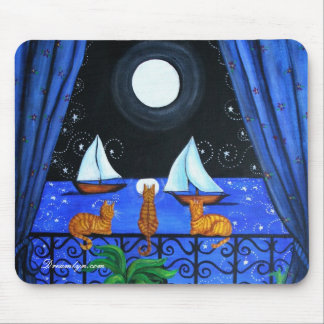 Cats Magical Night Nite Magic Mouse Pad