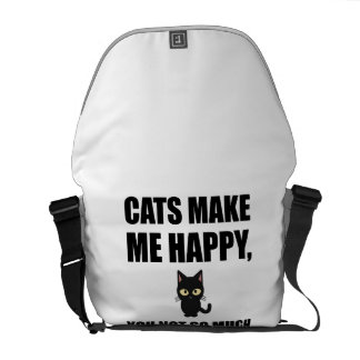 Cats Make Me Happy You Not So Much Funny Messenger Bag