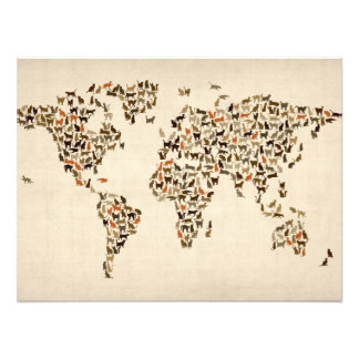 Cats Map of the World Map Photographic Print