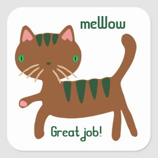 Cat's meWOW Customizable Great Job Sticker Square