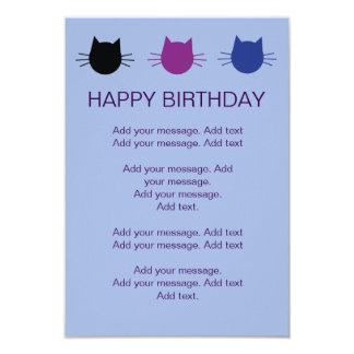 Cats multi-coloured Kids Birthday Party Invite