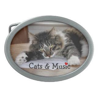 Cats & Music Belt Buckle
