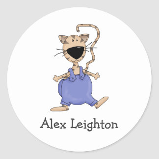 Cats 'n' Dogs · Cat in Overall Classic Round Sticker