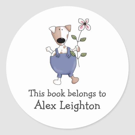 Cats 'n' Dogs · Dog with Flower Classic Round Sticker
