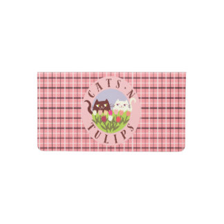 Cats N Tulips Floral Cute Chic Spring Pink Tartan Checkbook Cover