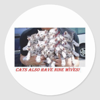 Cats n wives classic round sticker