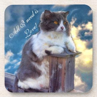 """""""Cats Need Love"""" Cork Coaster"""