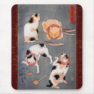 Cats (Neko) in Different Poses Utagawa Kuniyoshi Mouse Pad