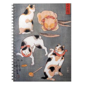 Cats (Neko) in Different Poses Utagawa Kuniyoshi Notebook