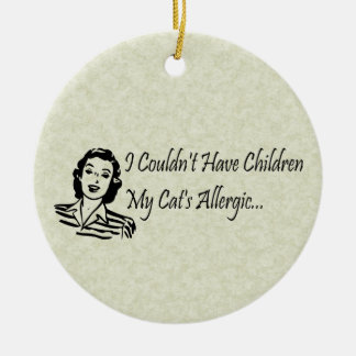 Cats Not Kids Double-Sided Ceramic Round Christmas Ornament