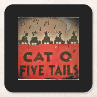 Cats of Five Tails Square Paper Coaster