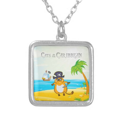 Cats of the Caribbean Square Pendant Necklace