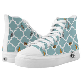 Cats on a Lattice - Blue High-Top Sneakers