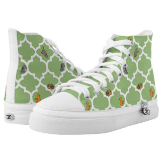Cats on a Lattice - Green High-Top Sneakers