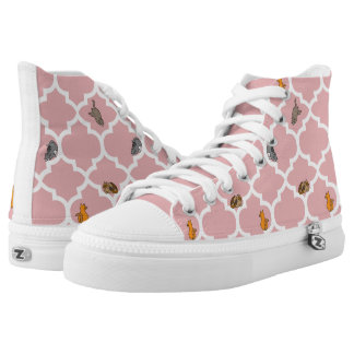 Cats on a Lattice - Pink High-Top Sneakers