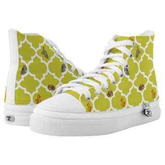 Cats on a Lattice - Yellow High-Top Sneakers